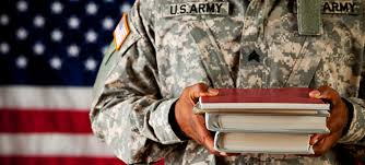 Service member with college books